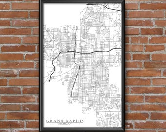 Grand Rapids, Michigan Map Art