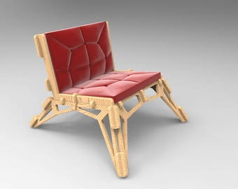 "DIY. The Chair ""Gustav"", 3D puzzle.Vector drawing for CNC. Pattern."