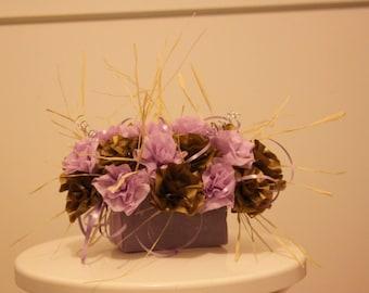 Gold and purple wedding centerpiece