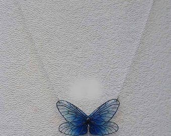Necklace made of deep blue fairy and glass bead drop White Pearl