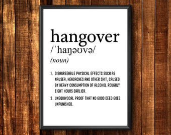 Hangover Definition Print | Funny Definition Print | Hangover Definition | Definition Poster | Funny Definition | Definition Printable