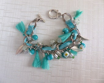 Charm bracelet turquoise blue and silver
