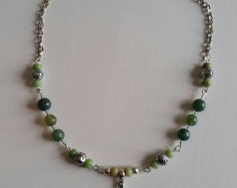 MOSS Agate and chrysoprase (8 mm beads) necklace