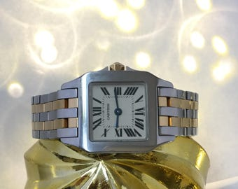 Pristine! Cartier Santos Demoiselle Two Tone Ladies Watch 18k