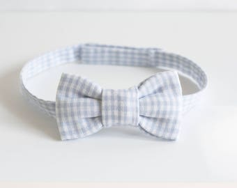 Blue baby/toddler gingham bowtie adjustable ceremony