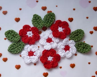 6 red and white flowers and 6 green leaves crochet