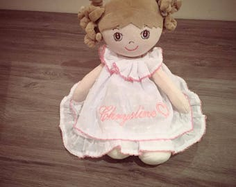 Doll velvet 30 cm with booties white with name embroidered on the dress