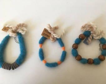 Set of three beautiful felt bracelets - buy all or any