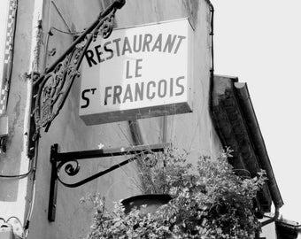 Restaurant sign St. Francis, South of France, September 2014