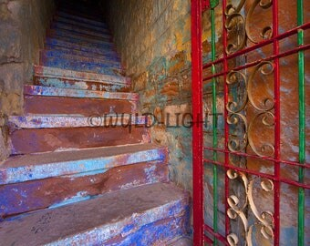 Stairway, Jodhpur, Rajasthan, India! 21605 Print Photography Home Decor Art Scenic Photography Travel Photography Canvas Art