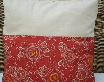 """The cushion and cover, set of 2, """"series"""" flowers and arabesques """", printed Japanese fabric red and beige cotton canvas"""