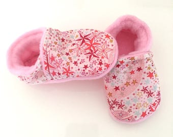 Soft liberty adelajda coral and fleece baby booties from birth or 21