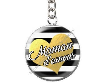 Cabochon resin love MOM keychain