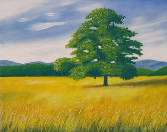 Painting, painting, painting on canvas, solitary tree, acrylic on canvas.