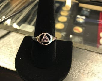 AA Sterling Silver ring with Pink or Clear CZ