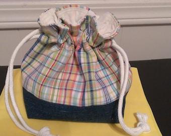 Checkered and Denim Drawstring Bag