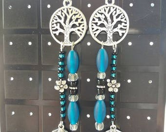 "Long earrings dangle 2 ""tree of life - turquoise"""