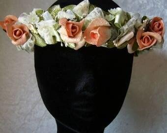 Couronne fleur en tissu mariée