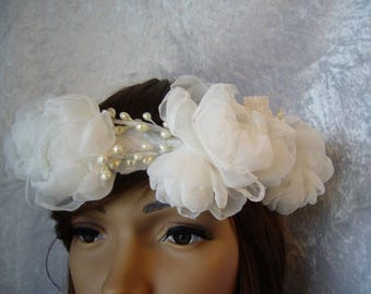 off white bridal flower Crown