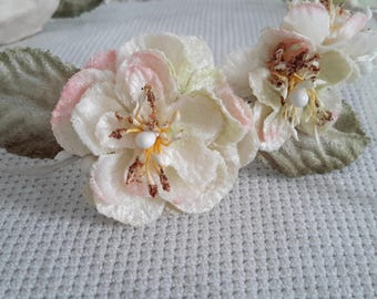 Headband with cherry blossom pink and ivory