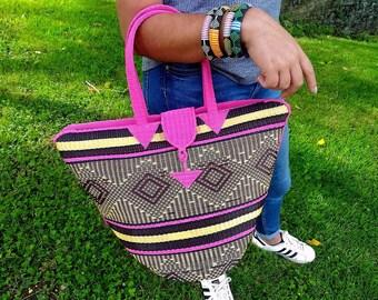Tote bag braided Senegalese - Brown, pink - SENSAC17