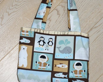 bag tote bag child ice, whale, bear, silver polka dot lining