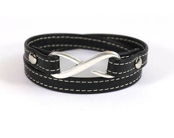 Stitched black leather - 2 rounds and silver infinity clasp - bracelet leather women bracelet