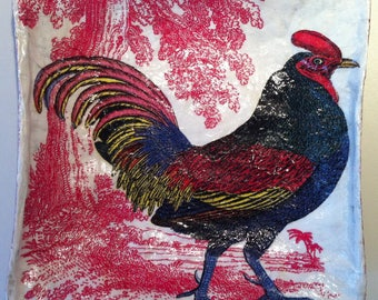 Yellow Red Painted Rooster Russian