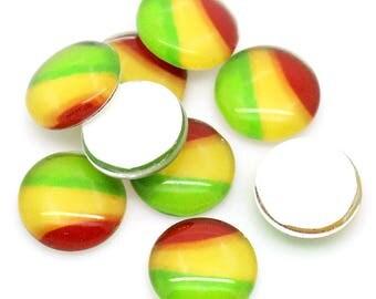 "6 ""rasta"" glass, 12 mm round cabochons"