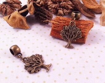 tree with round bail charm pendant, bronze