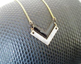 Chevron black and silver - enamel jewelry necklace