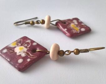 """""""White cherry blossoms Japanese"""" earrings"""