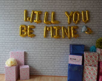 """WILL YOU BE Mine + Ring 16"""" Rose Gold ,Silver,Gold Foil,Mylar Balloons,Proposal, Surprise"""