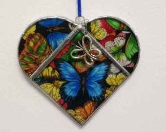 Stained Glass Heart Butterflies ~ Two-Sided ~ Large 5.5  Inches with a Butterfly Charm