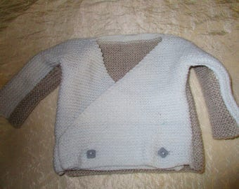 Two-tone baby jacket and booties