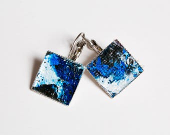 Blue/Black Square Earrings, 12 mm Silver Plated. One-of-a-Kind. Art to Go!!