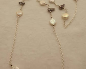 pearl and sterling silver beaded chain 68.5 cm necklace