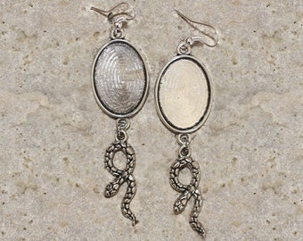 support oval cabochon 25 X 18 mm Silver earrings