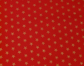 Red fabric stars Gold 1.50 m x 1.46 m