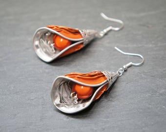 Coffee capsule - bright orange petals earrings