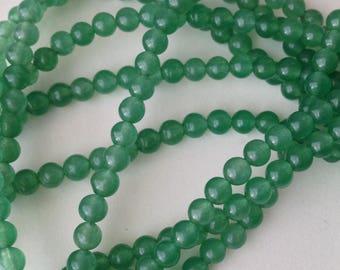 ° 2/set of 20 4 mm emerald green JADE beads