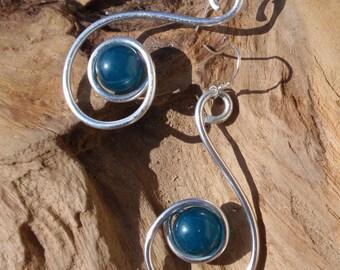 Silver aluminium and bead silver hook earrings
