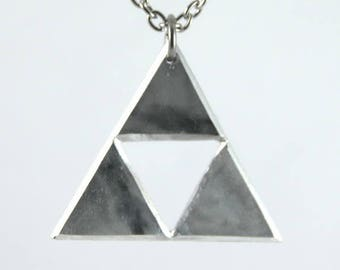 Zelda Triforce pendant on stainless steel chain.