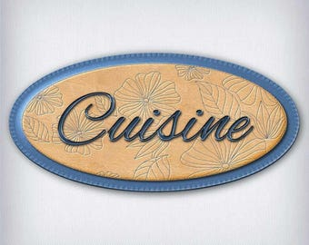 Leather and denim 053 kitchen door sign decal