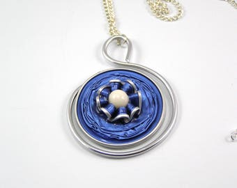 Coffee color capsule Necklace blue
