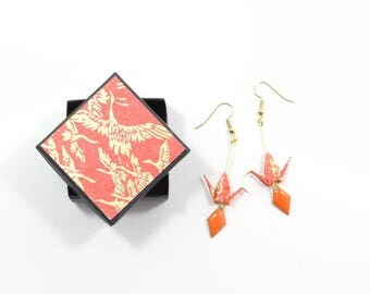 Jewel crane origami earrings Japanese paper orange diamond sequins and golden orange washi