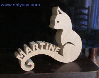 Cat 3 initials personalized fretwork wooden sculpture