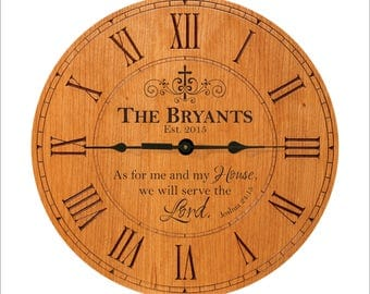 """Personalized Family Clock, Joshua 24:15, """"As for me and my house, we will serve the Lord."""" Established, Est., Family Gift"""