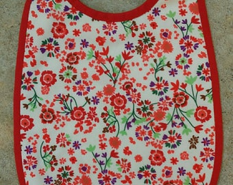 Bib 6-12 months Terry collection flowers red