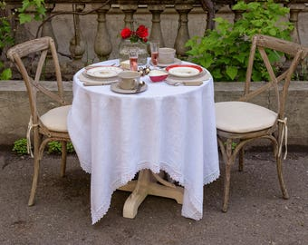 Linen tablecloth with lace, Square tablecloth